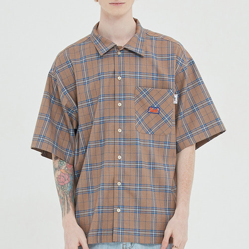 SQUARE CHECK HALF SHIRT_BEIGE