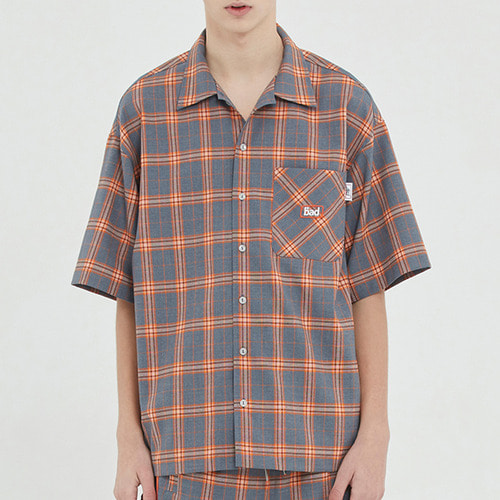 SQUARE CHECK HALF SHIRT_GREY