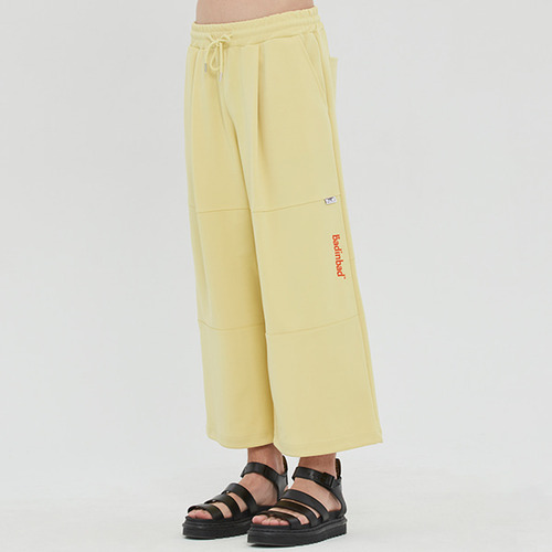 WIDE TRACK PANTS_LIME YELLOW