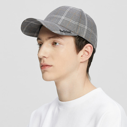 PLAIN LOGO CHECK CAP_GREY