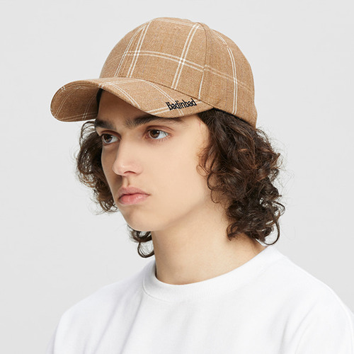 PLAIN LOGO CHECK CAP_BROWN